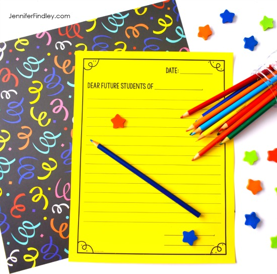 FREE template to have your students write a letter to your future students. The blog post also shares other end of year literacy activities for upper elementary.