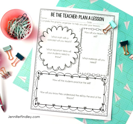 Let your students plan a math lesson at the end of the year! Get the details, grab a freebie, and read more end of the year math activities and ideas on this post.