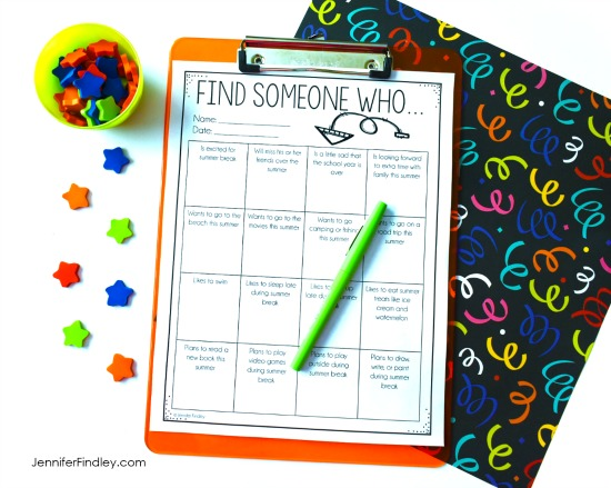"FREE ""Find Someone Who"" Activity that is themed for the end of the year! Grab more free end of the year printables on this post."