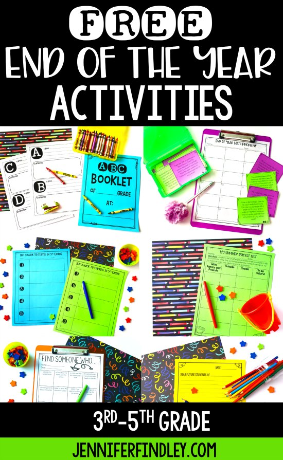 Free end of the year activities for 4th and 5th graders! Grab a few end of year freebies on this post to fill those last few weeks of school and keep your students engaged!