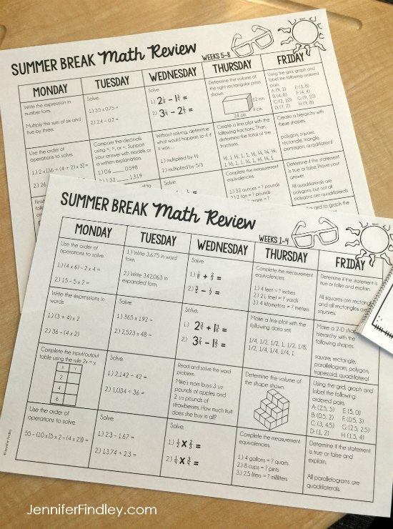 Summer math for 4th and 5th graders! Prevent the summer slide with summer review for the 4th and 5th grade math standards that is just enough review for the students to complete over the summer without being overwhelming. Read more on this post.