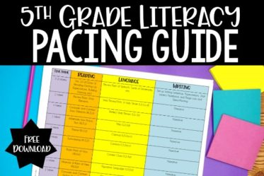 FREE downloadable 5th grade literacy pacing guide! This 5th grade ELA pacing guide includes reading, writing, and language skills. A link to a math version is also included in this post.