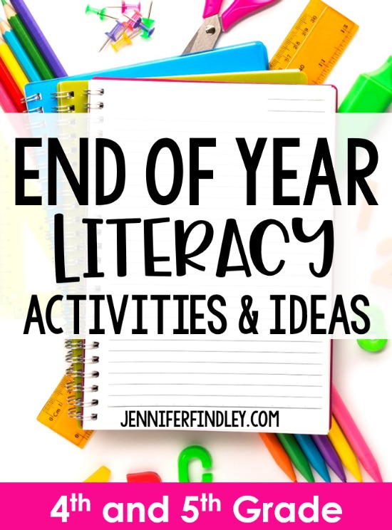 End of year activities and ideas for literacy! This post shares end of the year literacy activities and ideas to keep your 4th and 5th graders engaged up until the last day.