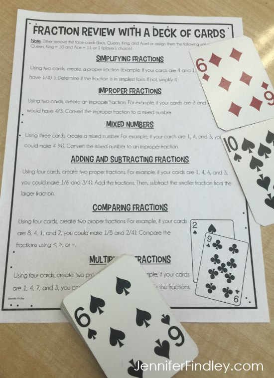 FREE fraction review activities to complete with a deck of cards.