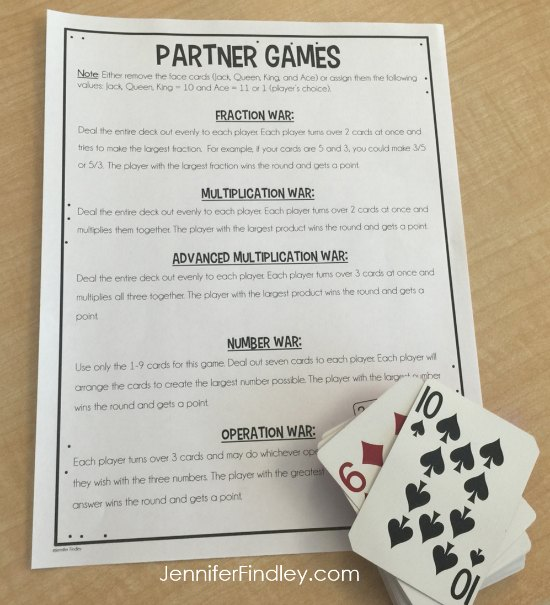 FREE math partner games to review upper elementary math skills with a deck of cards.