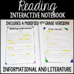 "This reading interactive notebook for 4th and 5th grade is perfect for introducing the standards and providing an ""anchor"" for the students to review the skill."