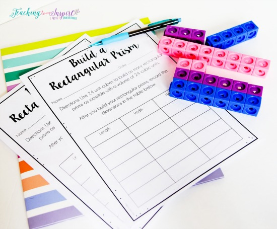 Free printable centers for using linking cubes or katie cubes to review volume.