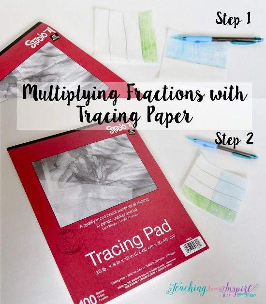 Tracing paper or patty paper are perfect for students to practice modeling multiplication of fractions.