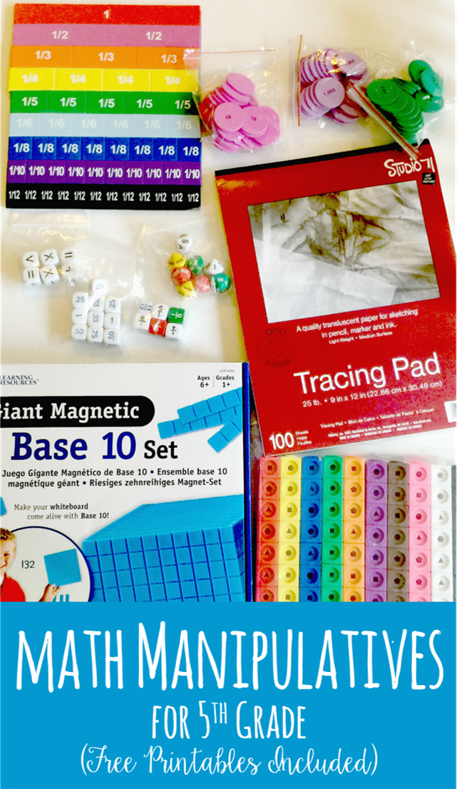 This post shares suggested math manipulatives for 5th grade with FREE printable activity pages to go with the manipulatives.