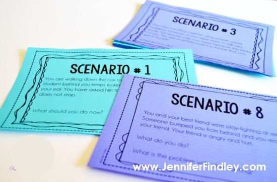 These classroom scenarios are perfect to get your students talking about how to handle situations that arise in the classroom. Click through to more about these and nine other tips for classroom management in upper elementary on this blog post.