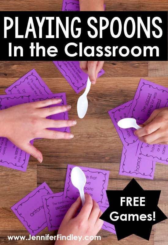 If you have ever played Spoons, then you know how fun and engaging that game is. Have you ever thought about playing Spoons in the classroom? This post explains how teachers can use an academic version of the highly engaging Spoons game to review concepts. Free games included!