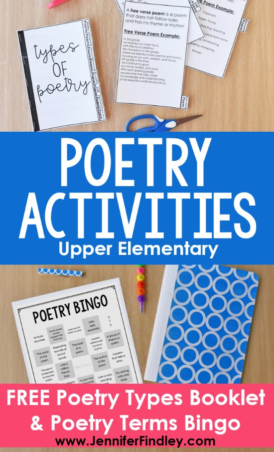 Check out these poetry activities for upper elementary that your students will love! This post includes a FREE poetry types booklet and a FREE poetry terms Bingo board!