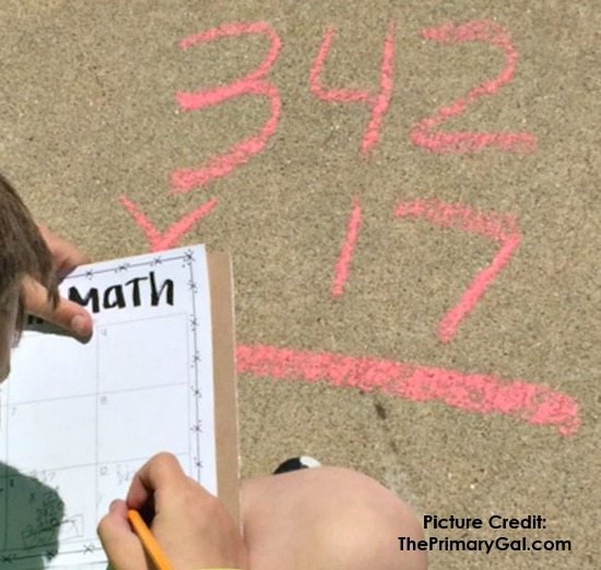 Sidewalk SCOOT is a great way to get your students learning outside. Read more about this activity and NINE other outdoor learning activities on this post.