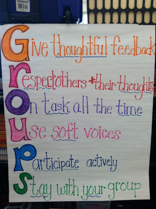 Working in groups expectation poster from Teaching with a Mountain View that is perfect for guided math centers. Read more guided math procedures and expectations on this post.