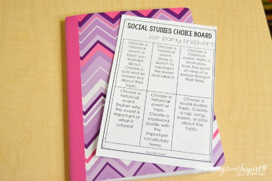 Using early finisher activities that tie in to your curriculum will give you the biggest bang for your buck. Grab this free early finisher social studies choice board!