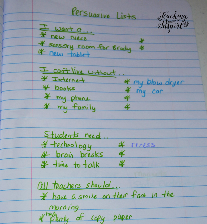Having students create lists of personal topics is the perfect way to ensure they never run out of ideas for writing.