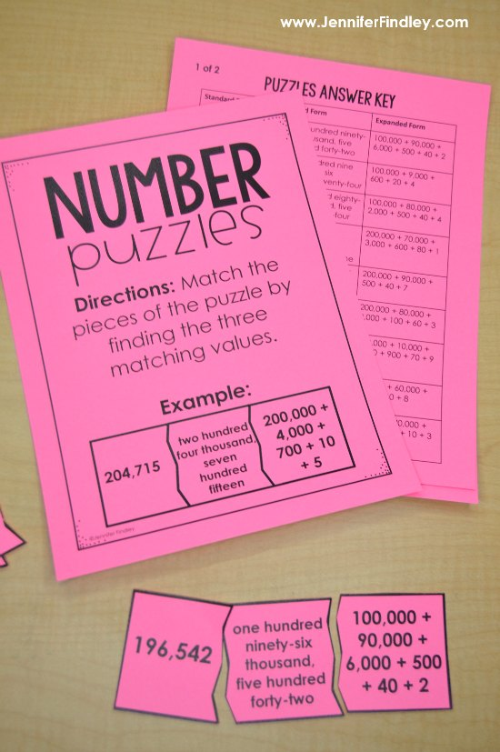 FREE math centers for launching math centers, including this number puzzles center.