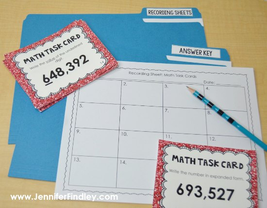 FREE math task cards to help you launch guided math centers in upper elementary!