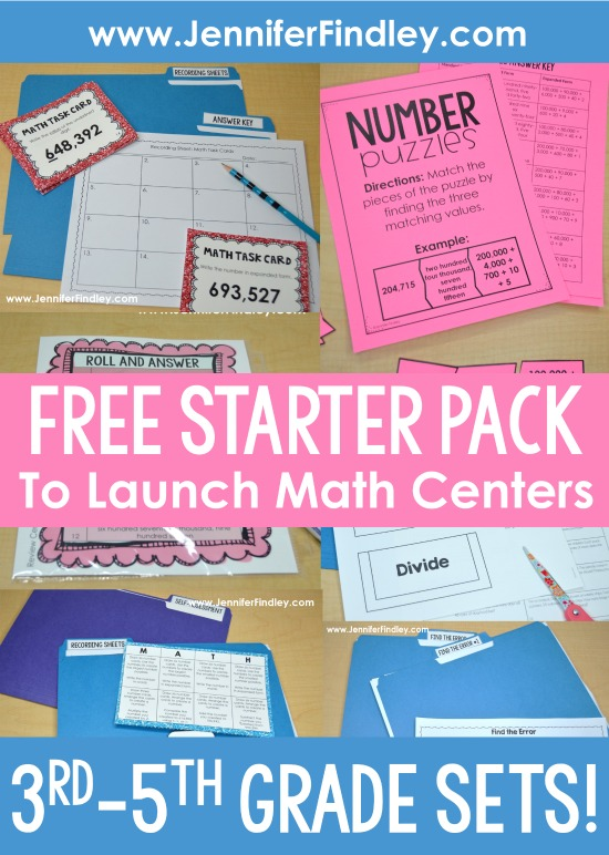 FREE Launching Math Centers Starter Pack for 3rd-5th Grade. Use these FREE guided math centers to get math centers up in running at the beginning of the school year.