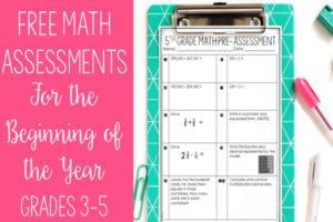 FREE Math Pre-Assessments (Grades 3-5)