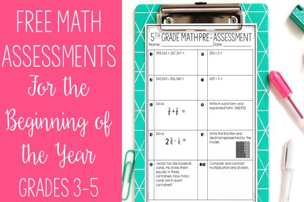 free math pre-assessments  grades 3-5