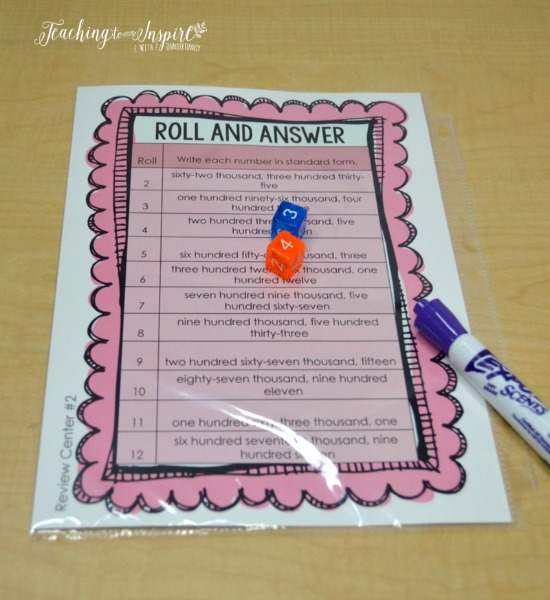 FREE roll and answer math game for launching math centers