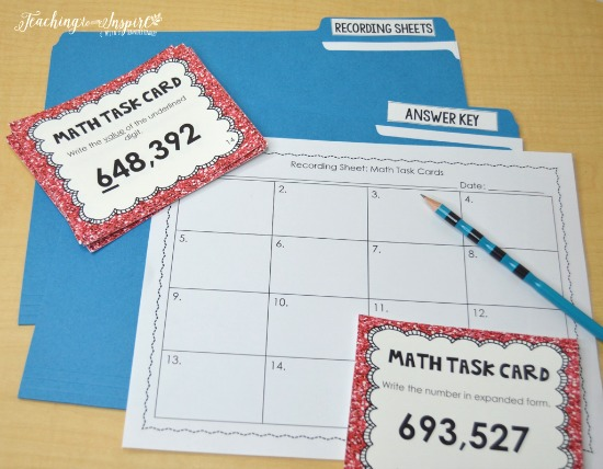 FREE math centers for launching math centers, including this set of math task cards.