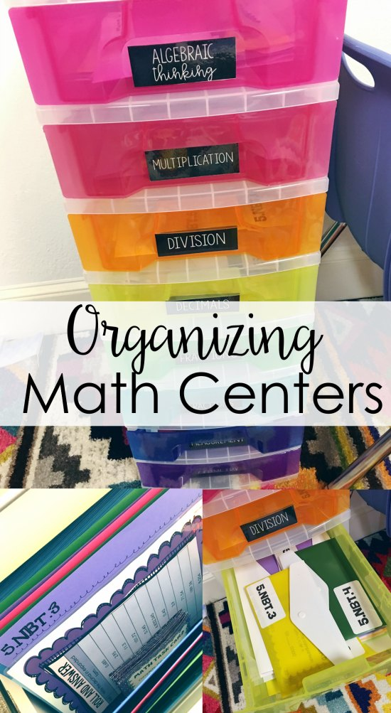 Lots of tips for organizing math centers for daily/weekly use and for future use. Affordable options also included!