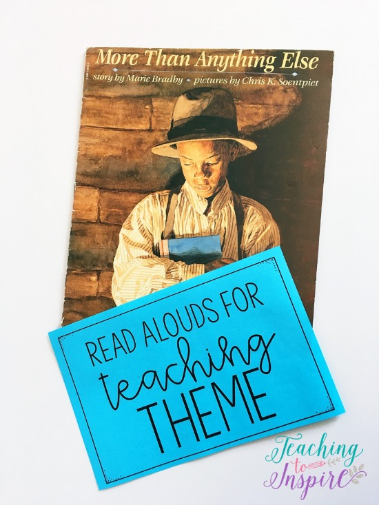 If you are looking for theme mentor texts or read alouds for teaching theme, definitely check out this post. It shares six read alouds with brief summaries and a list of possible themes for each. The post also shares ideas and guidelines for using the read alouds to teach theme.