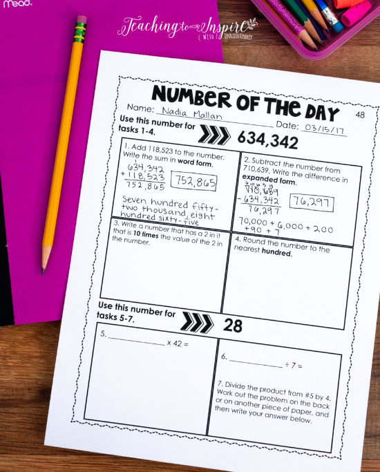 Number of the day printables to review key 4th grade number sense and place value skills.