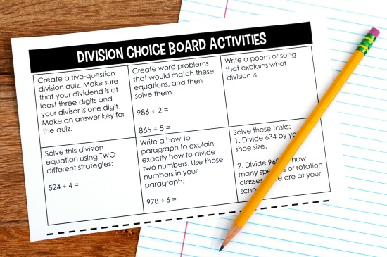 Easy to prep choice boards are perfect to leave for substitute work. Read more substitute tips on this post.