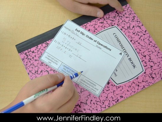 Exit slips with embedded self-assessment and checks for understanding are the perfect way to assess students' knowledge and their thinking.