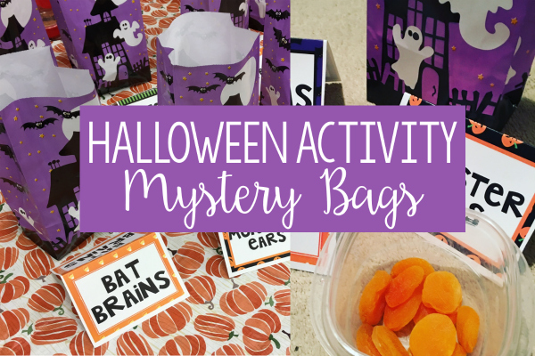• I've always wanted to do this Halloween activity with my students, but the idea of making the mystery boxes was daunting. I switched to Halloween bags and it was so much easier to prep and execute. Read more and grab the table tent labels on this post.