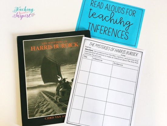 The Mysteries of Harris Burdick by Chris Van Allsburg is perfect for introducing students to inferences and using evidence to support those inferences. Click through to read about more suggested read alouds for teaching inferences.