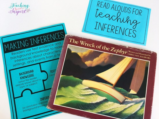 The Wreck of the Zephyr is a great book for teaching students to infer. Read more suggested read alouds for inferences on this post.