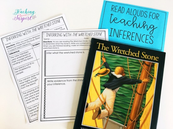 The Wretched Stone by Chris Van Allsburg is a great book for teaching students to infer. Read more suggested read alouds for inferences on this post.