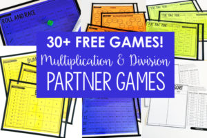 FREE Math Partner Games for Multiplication and Division Facts