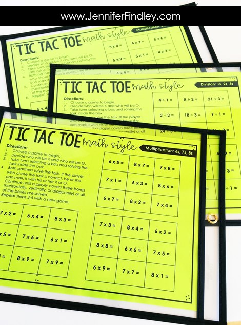 FREE math activities for multiplication and division facts. These partner games are super low-prep and engaging. They work great for math centers, math partner games, and even early finishers.