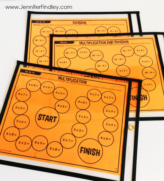 FREE math games for multiplication and division facts. These partner games are super low-prep and engaging. They work great for math centers, math partner games, and even early finishers.