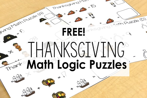 FREE Thanksgiving Puzzles | Math Logic Puzzles - Teaching with