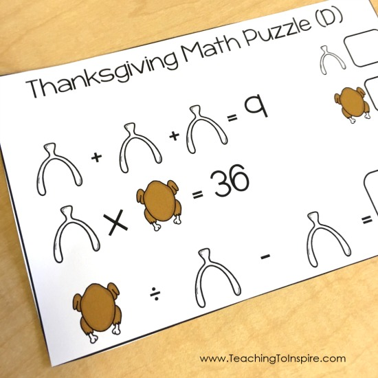 Challenge and engage your students with these free Thanksgiving puzzles!