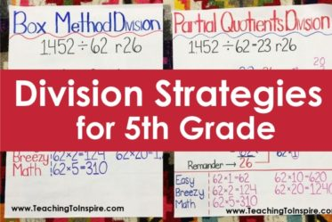 Do you dread teaching division to 5th grade students? Check out these division strategies to help! Anchor chart ideas and links to videos included!