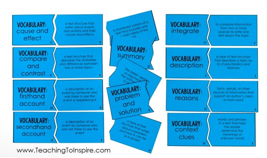 FREE reading puzzles for literature and informational vocabulary. Perfect for reading centers or reading test prep.