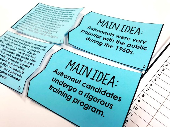 Main idea reading puzzles...perfect for a 4th and 5th grade reading center