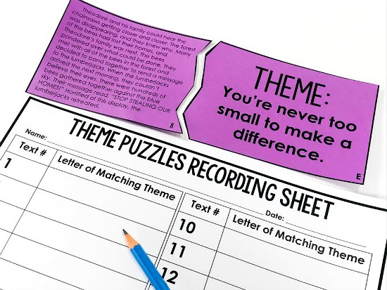 Determining theme reading puzzles...perfect for a 4th and 5th grade reading center