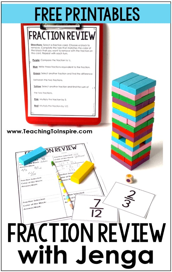 Want to review fractions in an engaging way? Click through to read about and download a FREE fraction game using Jenga blocks.