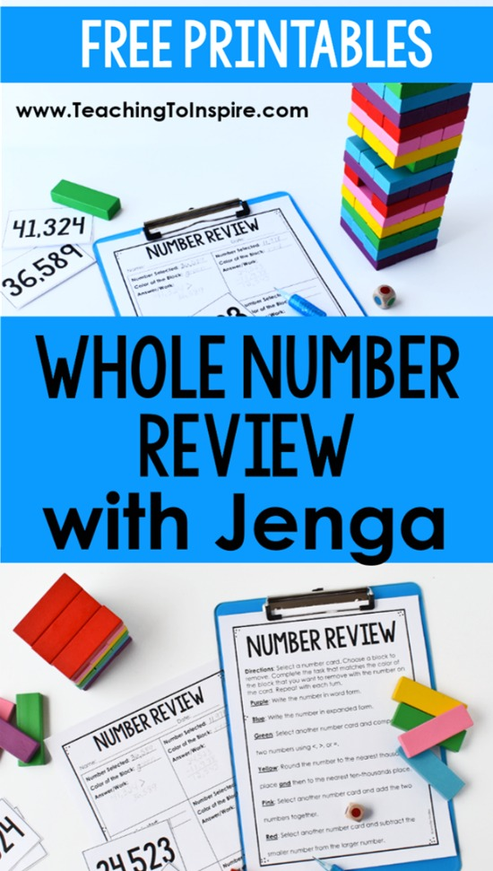 Want to review whole number skills in an engaging way? Click through to read about and download a FREE whole number game for 3rd-5th grade using Jenga blocks.