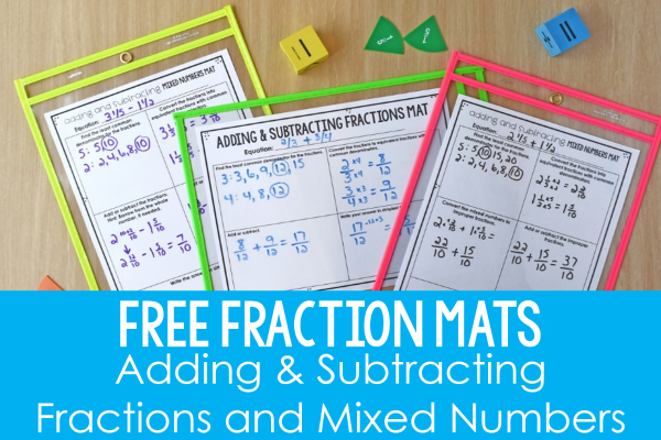 Fraction Mats: Adding and Subtracting Fractions and Mixed Numbers ...