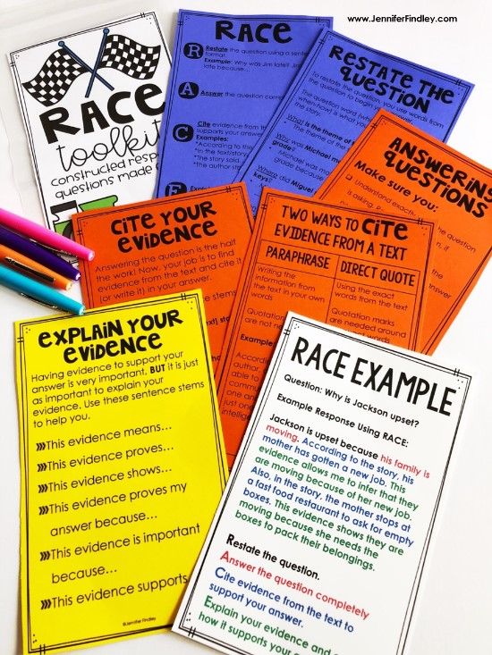 Using the RACE strategy is an effective way to help students answer constructed response reading questions. Read more details about using RACE and grab free RACE strategy posters and printables.