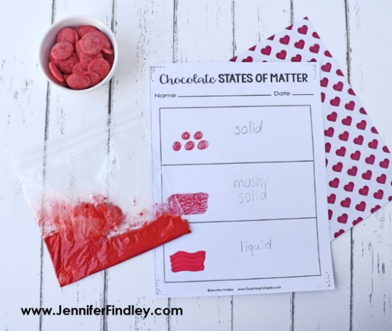 Need an engaging activity for reviewing or introducing the states of matter? This activity involving chocolate is a perfect Valentine's Day science activity or any time of the year activity. Grab free printables (including a reading passage) on this post.